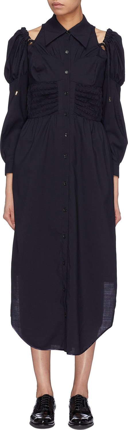 Akiko Aoki Cold shoulder puff sleeve smocked shirt dress