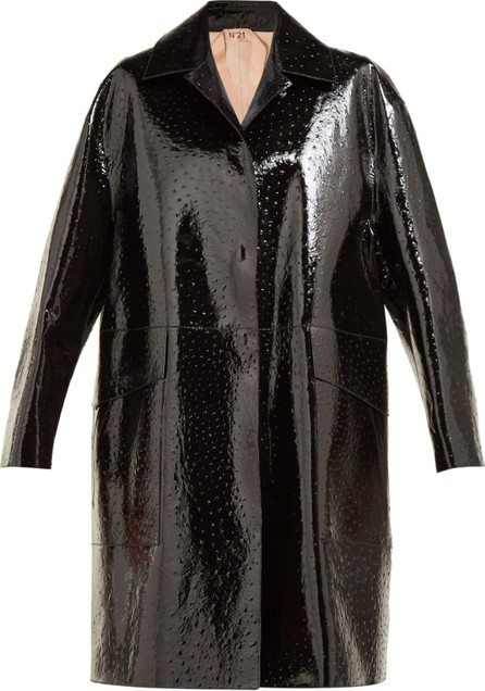 Nº21 Ostrich-effect single-breasted leather coat