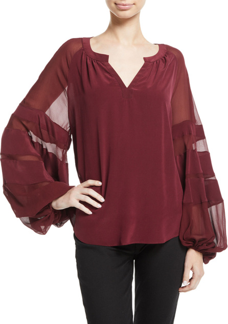 7 For All Mankind Paneled Blouson-Sleeve Silk Top
