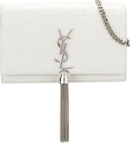 Saint Laurent Crocodile embossed Kate monogram tassel chain wallet