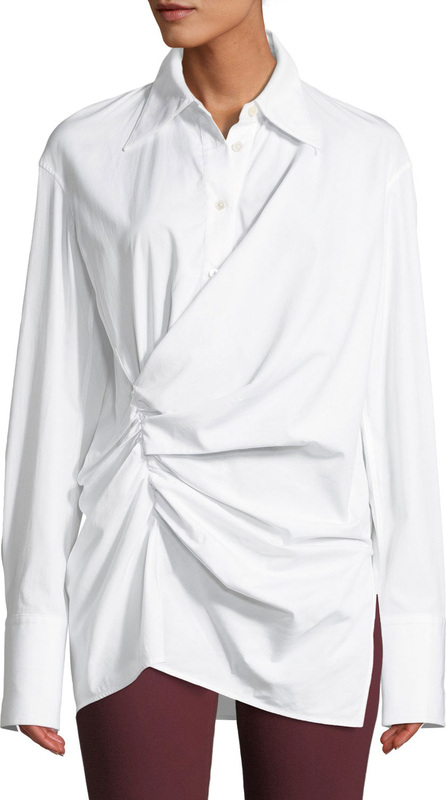 Helmut Lang Draped Button-Front Cotton Shirt