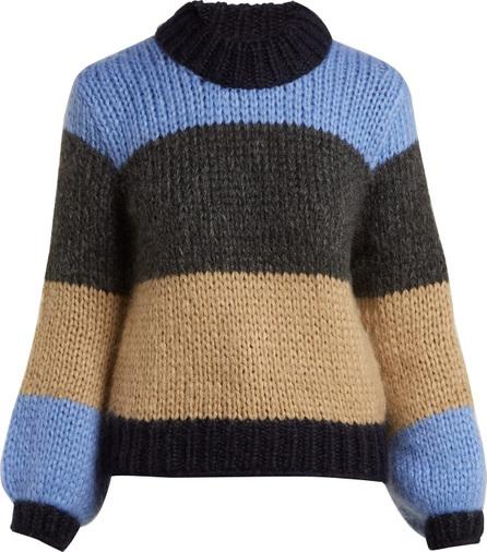 Ganni Julliard colour-block mohair-blend knit sweater