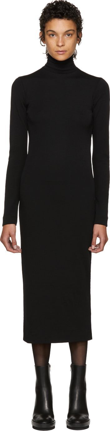 Haider Ackermann Black Nagel Turtleneck Dress