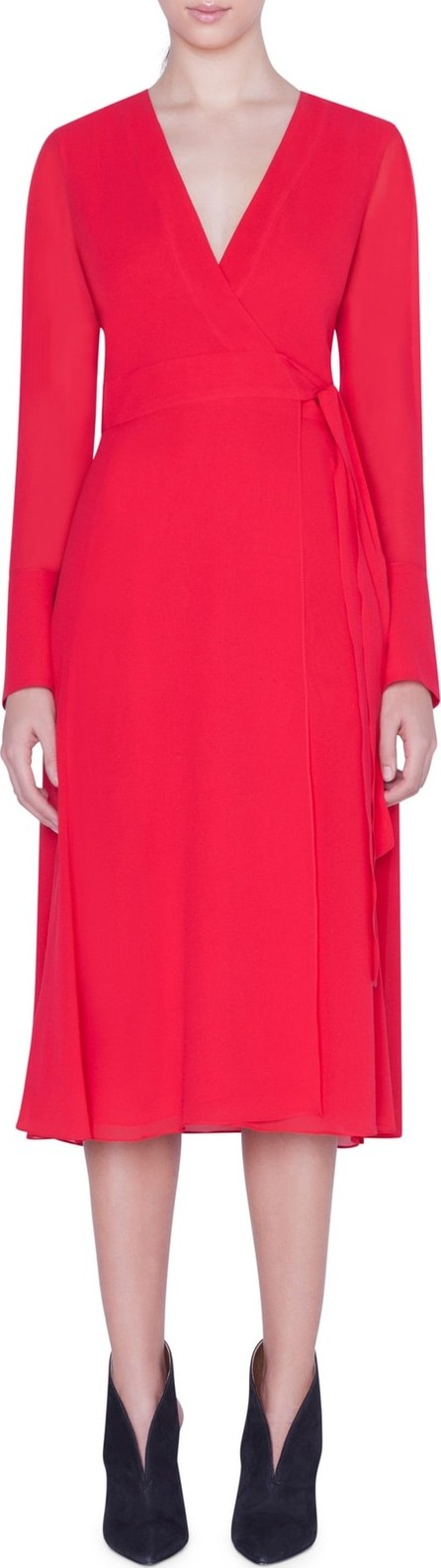 Akris Slit Sleeve Silk Georgette Wrap Dress