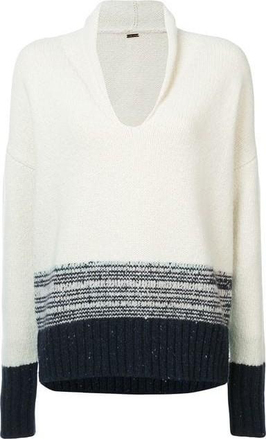 Adam Lippes Contrast Long-Sleeve Sweater