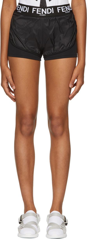 Fendi Black Nylon Sporty Shorts