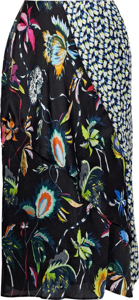 Jason Wu Paneled printed silk-georgette skirt