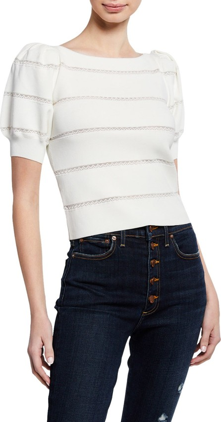 Alice + Olivia Lavona Boat-Neck Puff-Sleeve Lace-Inset Pullover