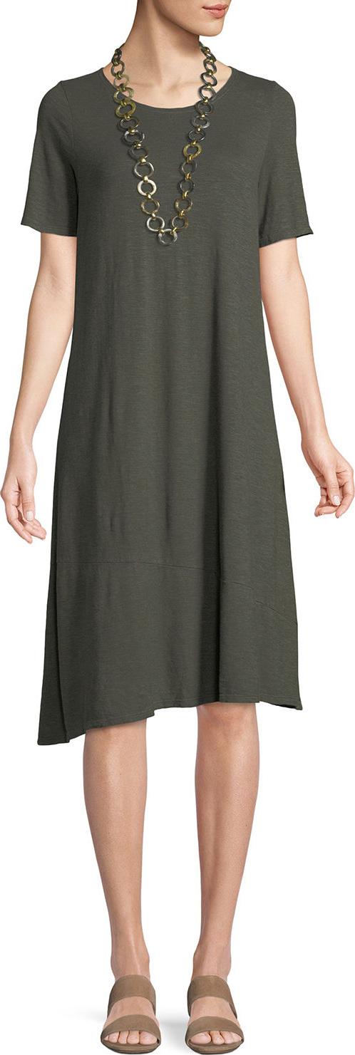 Eileen Fisher - Hemp-Cotton Twist Asymmetric Shift Dress