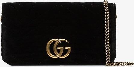 Gucci Black marmont chevron velvet clutch