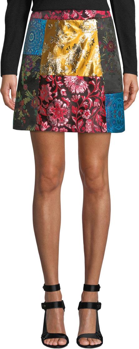 Alice + Olivia Riley Patchwork A-Line Short Skirt