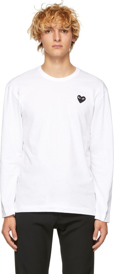 Comme Des Garcons PLAY White & Black Heart Patch Long Sleeve T-Shirt