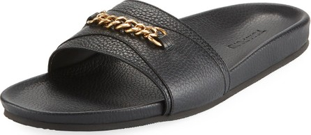 TOM FORD Leather Slide Sandal with Curb-Link Chain