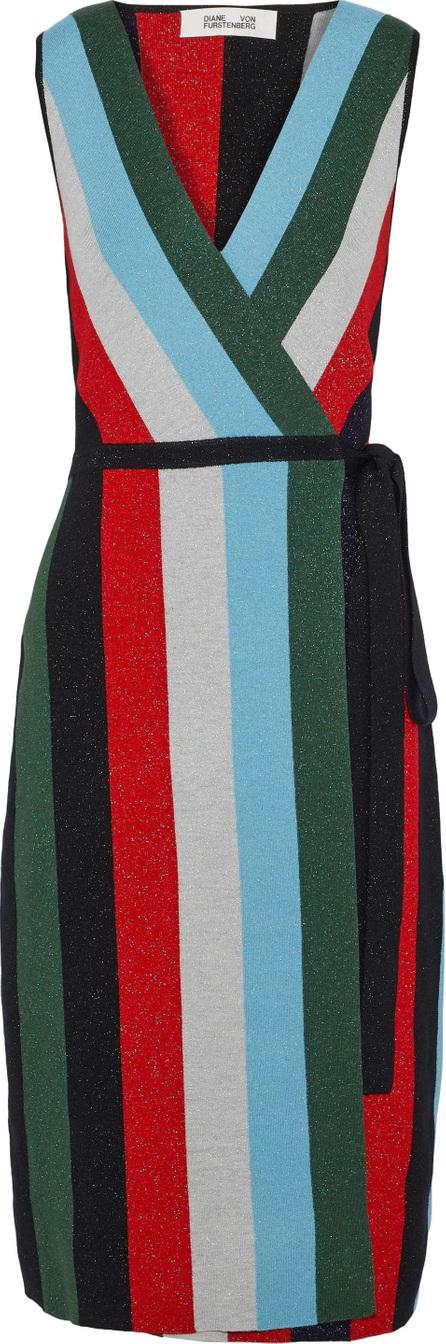 DIANE von FURSTENBERG Metallic intarsia merino wool-blend wrap dress