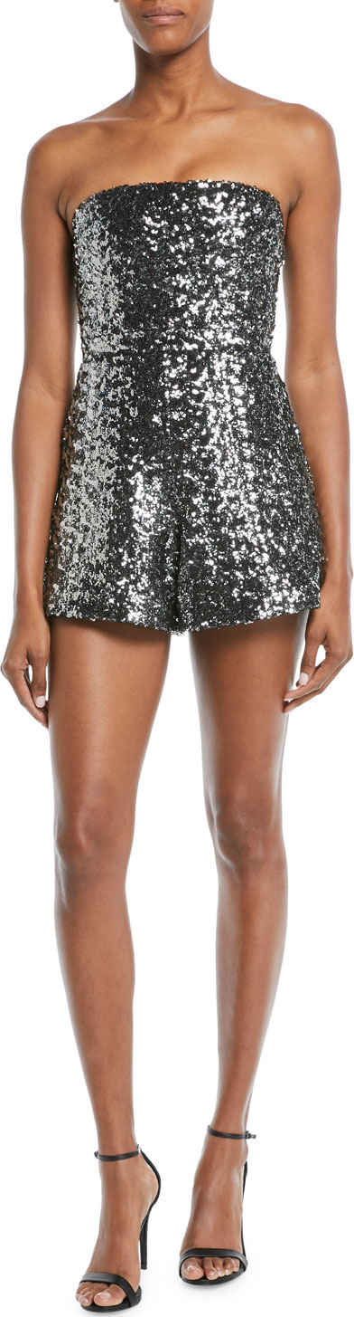 Alexis Rosemary Sequin Strapless Romper