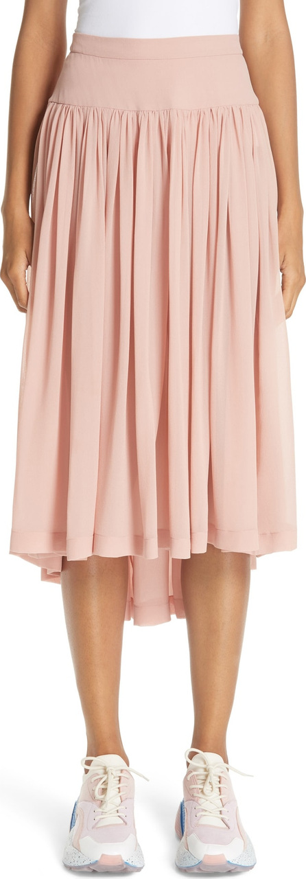 Stella McCartney Andrea Gathered Silk Midi Skirt