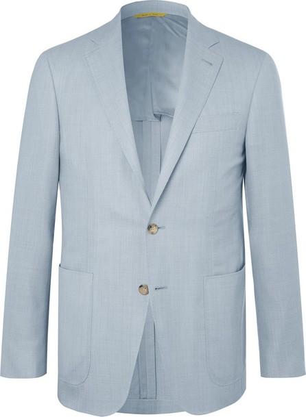 Canali Light-Blue Impeccabile Unstructured Wool-Hopsack Blazer