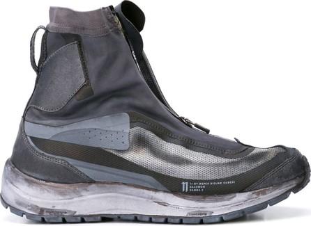 11 By Boris Bidjan Saberi Zipped patterned hi-top sneakers