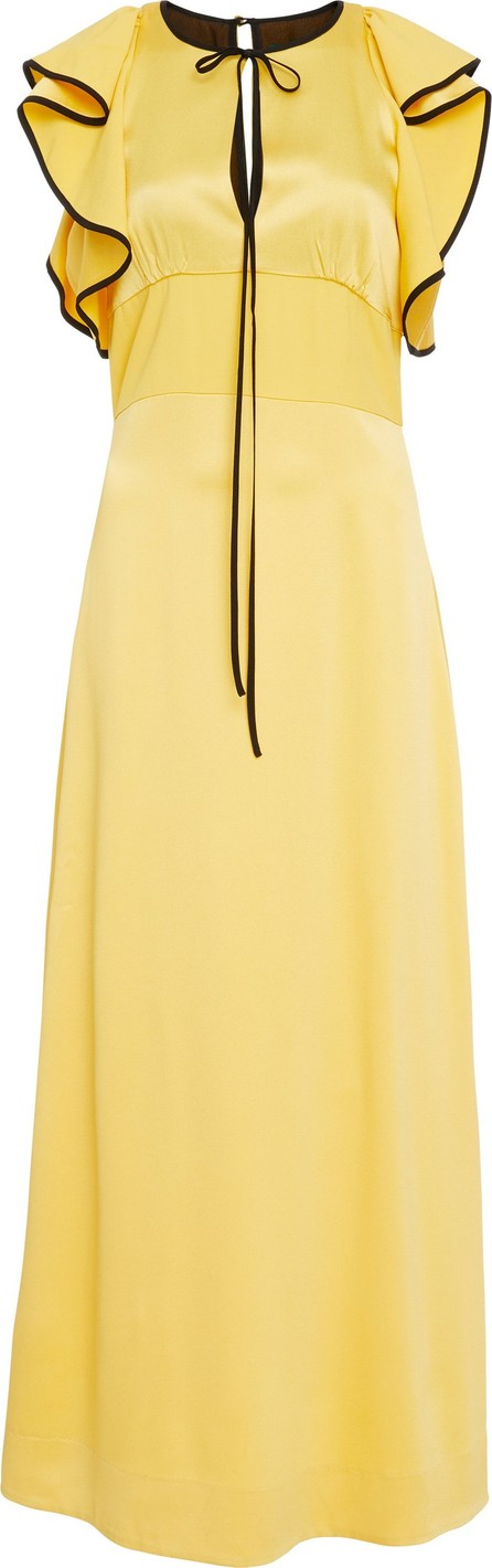 Alexachung Tie-Front Ruffled Satin Maxi Dress