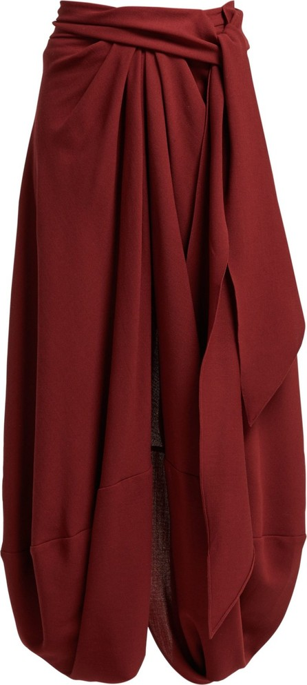 Jacquemus Souela belted draped wool skirt