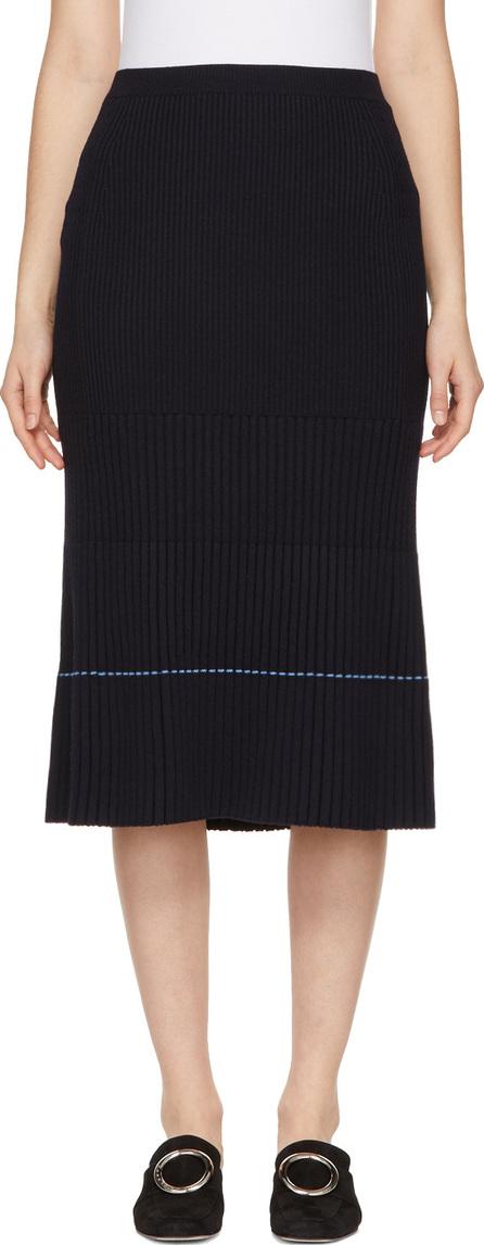 Victoria Beckham Navy Ribbed Skirt