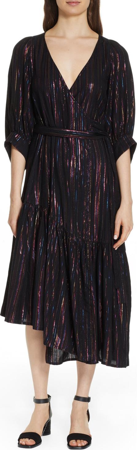 APIECE APART Bougainville Metallic Stripe Wrap Dress
