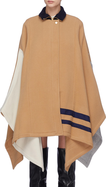 Chloe Colourblock stripe melton zip cape