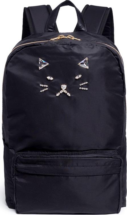 Tu Es Mon Tresor Strass cat face nylon backpack
