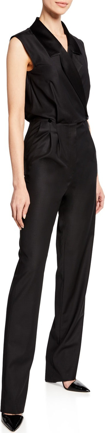 Carolina Ritzler Narjisse Sleeveless Tux Jumpsuit