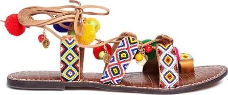 Sam Edelman 'Lisabeth' pompom beaded lace-up sandals