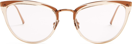 Linda Farrow Cat-eye acetate and gold-plated glasses