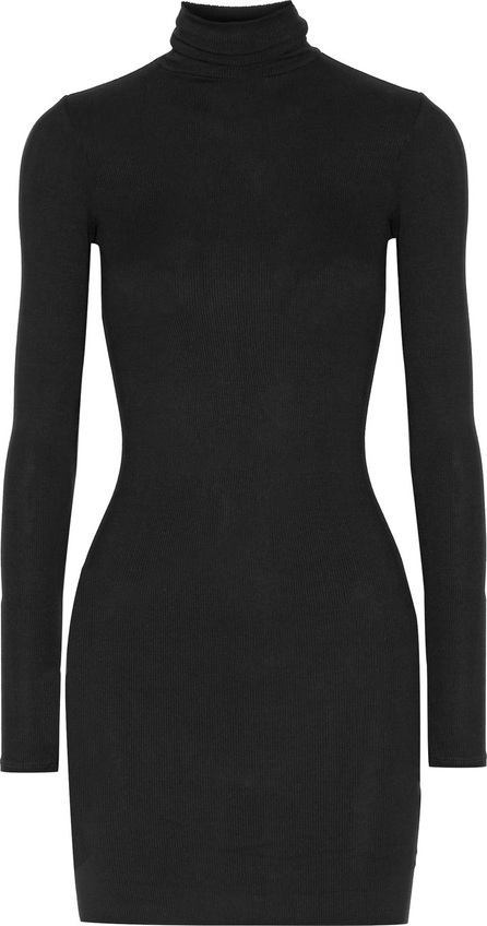 ENZA COSTA Ribbed stretch-jersey turtleneck mini dress