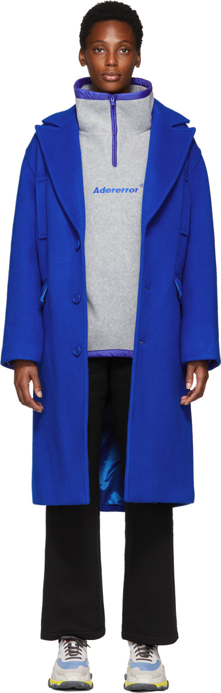 ADER error SSENSE Exclusive Blue Basic Single Coat