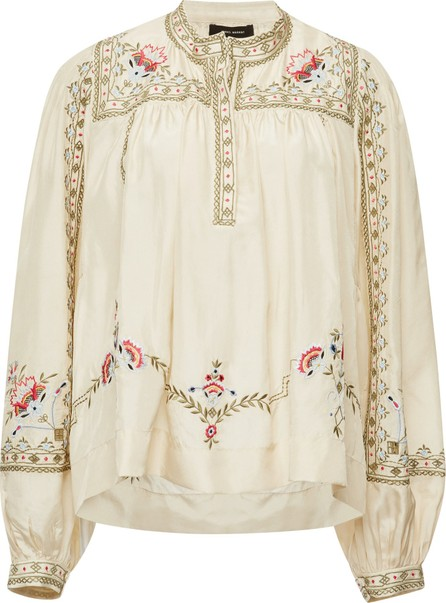 Isabel Marant Dyron Embroidered Balloon Sleeve Silk Blouse