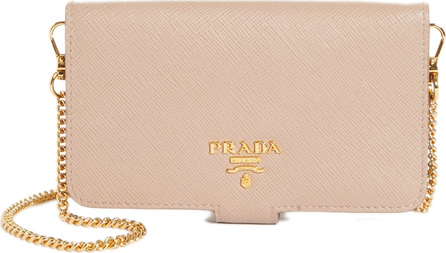 Prada Saffiano Metal Oro Chain Book Phone Wallet