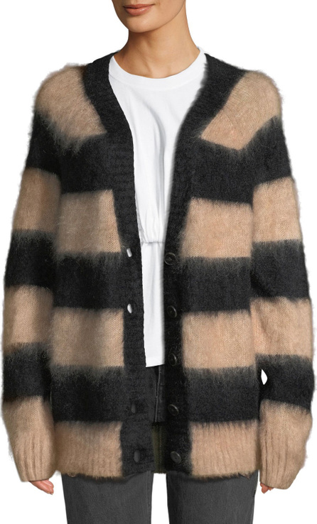 T By Alexander Wang Striped Oversized Mohair Cardigan