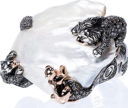 Bibi Van Der Velden 18k rose gold Animal Family Lion ring