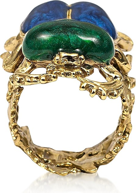 Bernard Delettrez Bronze Scarab Ring w/ Hand Made Enamel