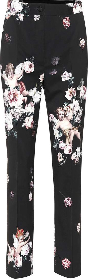 Dolce & Gabbana Floral wool straight-leg pants