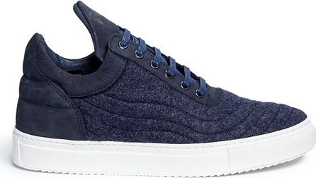 Filling Pieces 'Low Top' nubuck leather trim quilted wool sneakers