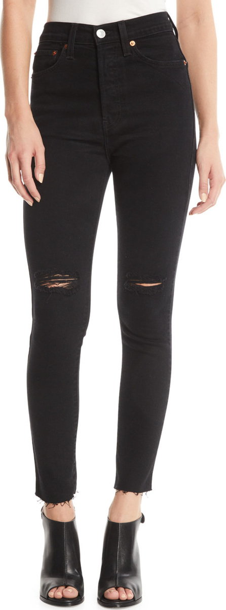 RE/DONE High-Rise Skinny Frayed Ankle Jeans with Ripped Knees