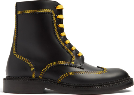 Burberry London England Topstitch lace-up leather ankle boots