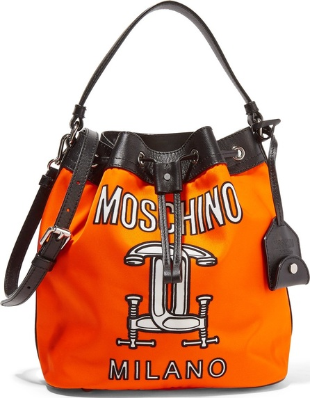 Moschino Printed leather-trimmed shell shoulder bag