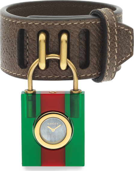 Gucci Constance Two-Tone Padlock Watch w/ Leather Strap