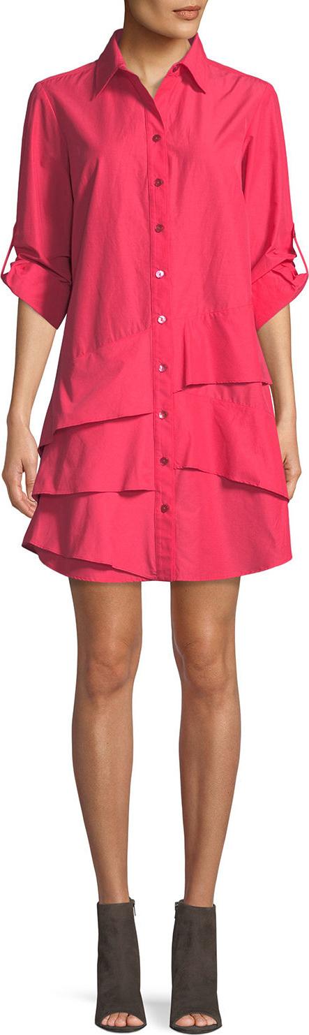 Finley Jenna Easy Ruffle-Tiered Shirtdress