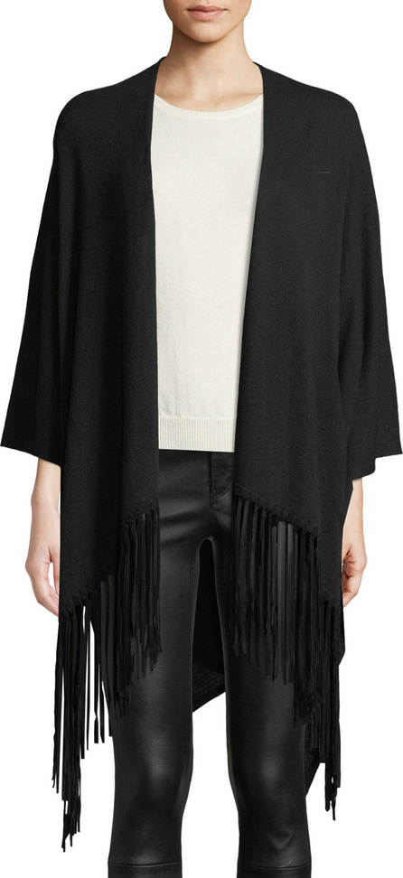 Emporio Armani Open-Front Wool-Blend Cape w/ Suede Fringe Trim