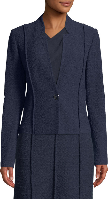 St. John Ana Boucle Knit Seamed Blazer Jacket