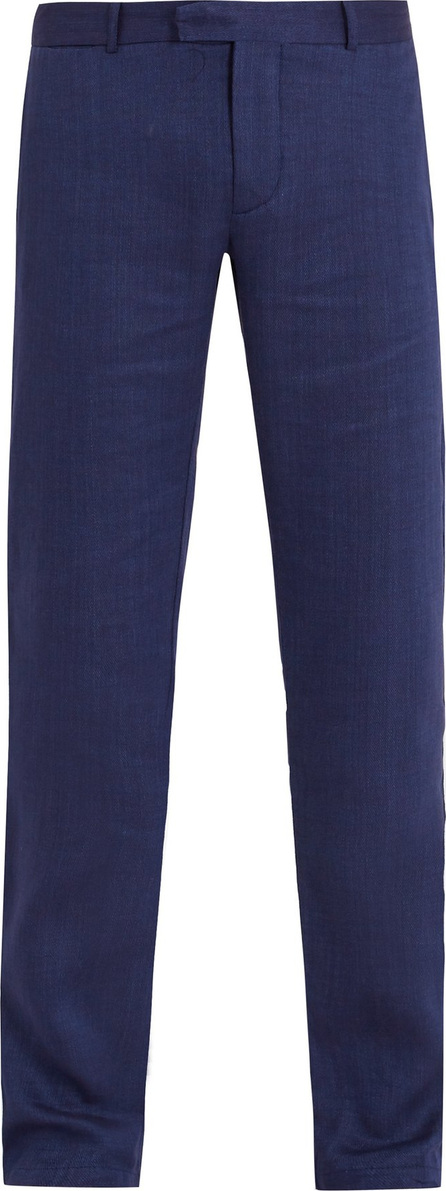 Frescobol Carioca Mid-rise linen-blend trousers