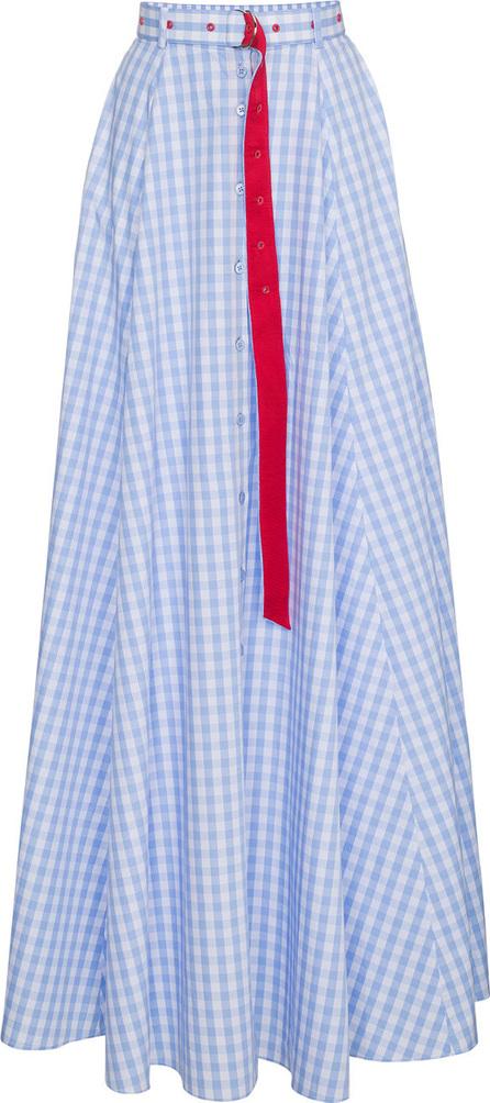 Adam Selman High waist gingham cotton maxi skirt
