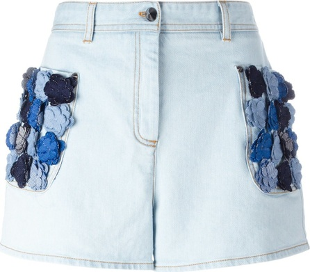 Fendi flower appliqué denim shorts